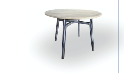 Expressionsmetis Round Indoor Outdoor Dining Table Teak Top Woven Legs