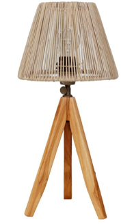 Expressionsmetis Slim Mini Tripod Wooden Bed Side Table Lamp Natural Shade