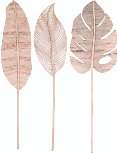 Expressionsmetis Woven Natural Rattan Extra Large Leaves Decoration Banana Monstera