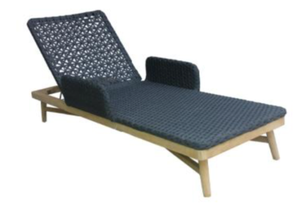 Expressionsmetis Woven Rope Outdoor Furniture Sun Lounger Grey Teak Wood Legs