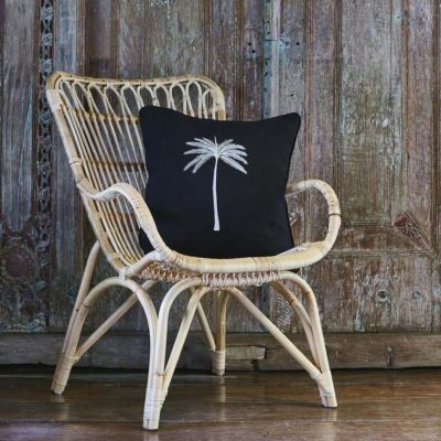 Expressionsmetis Home Decor Decorative Black Ehite Embroidered Palm Tree Cushion Cover