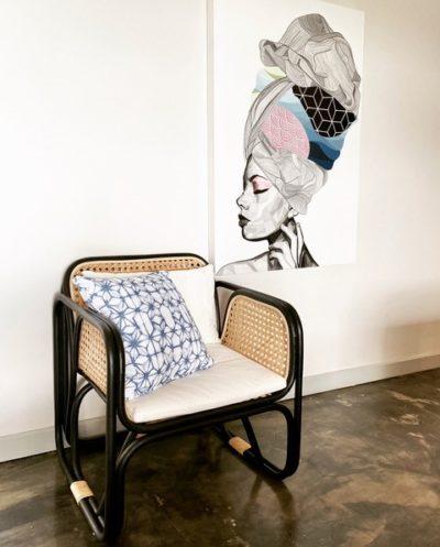 Expressionsmetis Natural Rattan Armchair Black Frame Chair